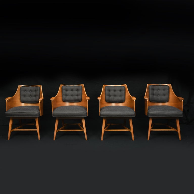 Mid-20th Century Edward Wormley for Dunbar, Set of Four Rare Sculpted Back Dining Chairs, 1960s For Sale