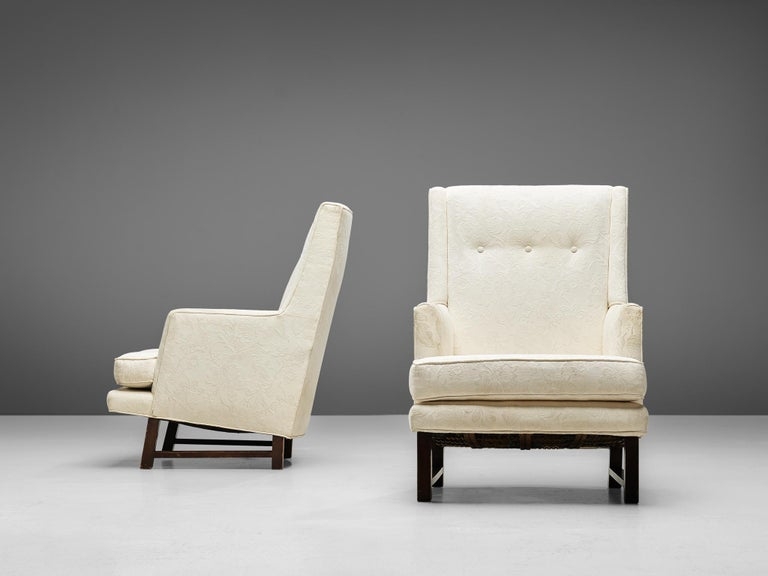 American Edward Wormley for Dunbar Set of Lounge Chairs in Original Upholstery For Sale