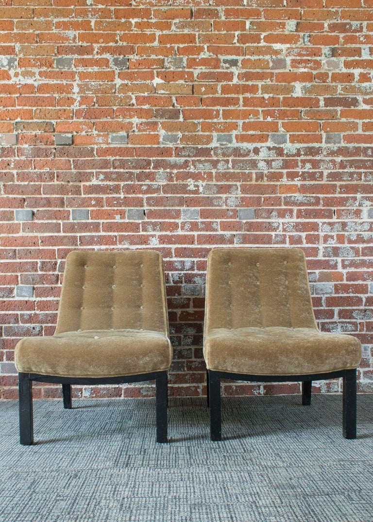 Wood Edward Wormley for Dunbar Slipper Chairs For Sale