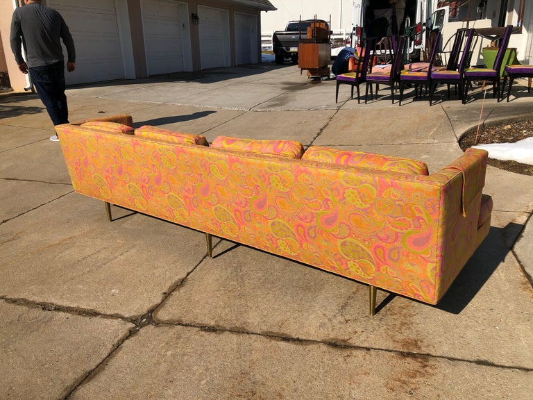 Edward Wormley for Dunbar Sofa 4907 Original Pop Art Pucci Fabric In Good Condition For Sale In Allentown, PA