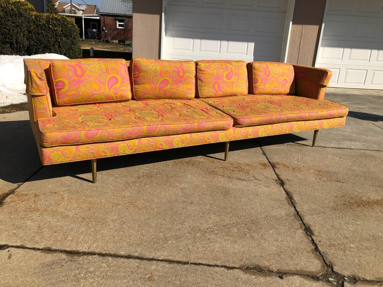 Edward Wormley for Dunbar sofa 4907 original Pop Art Pucci fabric great very little fade rare brass six legs. A gorgeous, increasingly rare 9' long Edward Wormley for Dunbar sofa with rare brass legs. This sofa was model #4907 and two vintage