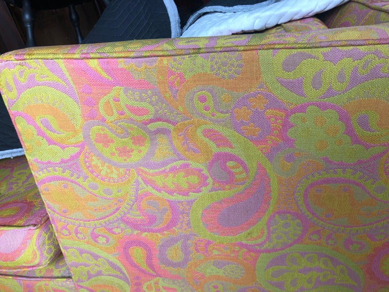 Brass Edward Wormley for Dunbar Sofa 4907 Original Pop Art Pucci Fabric For Sale