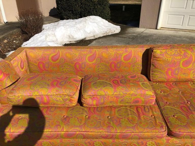 American Edward Wormley for Dunbar Sofa 4907 Original Pop Art Pucci Fabric For Sale