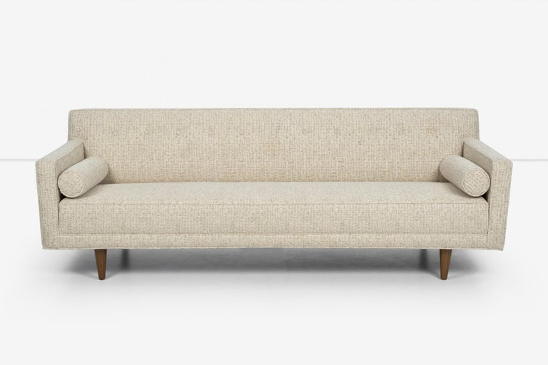 Edward Wormley for Dunbar sofa, model 5407 solid mahogany turned legs, reupholstered with great plains cotton-poly.