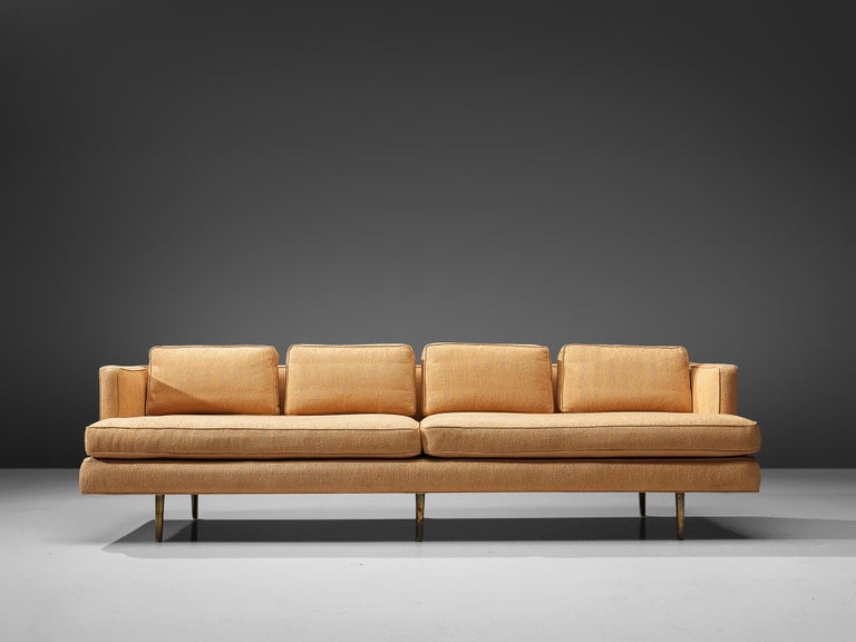 Edward Wormley for Dunbar, sofa model 4907, fabric and brass, United States, circa 1955.  A remarkable sofa by Edward Wormley that is purely elegant, as it bears features of classic design combined with Minimalist, sober influences. In the words