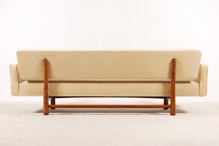 Brass Edward Wormley for Dunbar, Sofa Model 5316 Reupholstered, circa 1950
