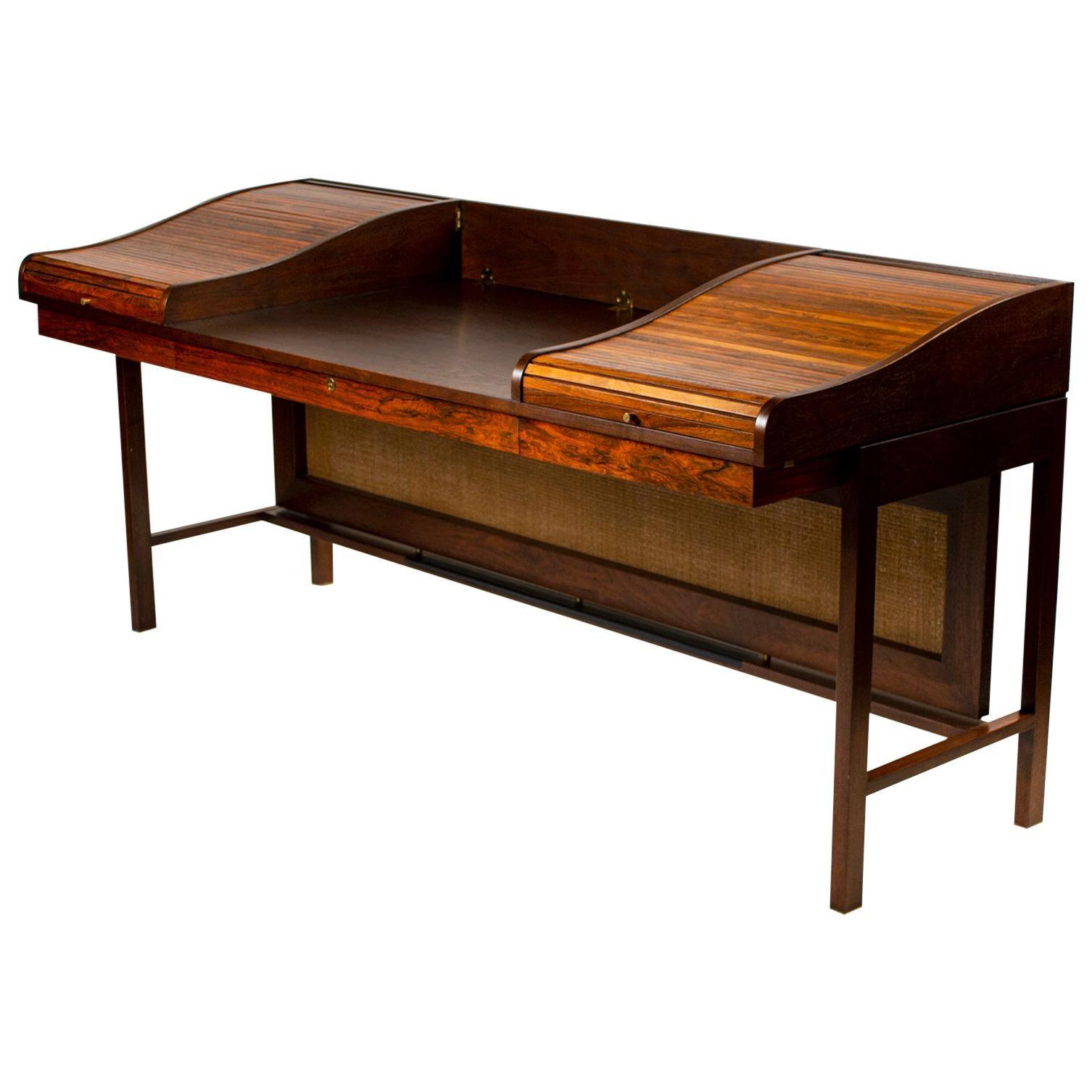 Edward Wormley for Dunbar Solid Brazilian Rosewood Tambour Desk Model 912C