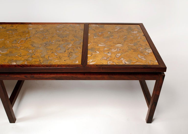 Edward Wormley for Dunbar Solid Rosewood and Fossilized Marble Cocktail Table For Sale 4