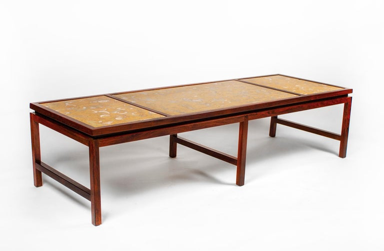 Mid-Century Modern Edward Wormley for Dunbar Solid Rosewood and Fossilized Marble Cocktail Table For Sale