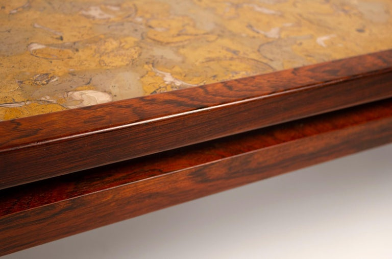 Edward Wormley for Dunbar Solid Rosewood and Fossilized Marble Cocktail Table For Sale 3