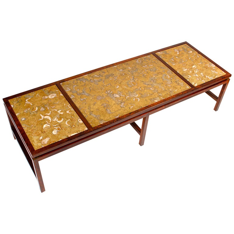 Edward Wormley for Dunbar Solid Rosewood and Fossilized Marble Cocktail Table For Sale
