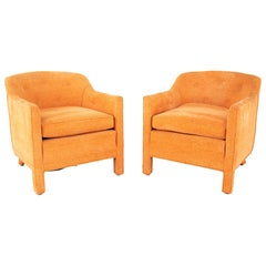 Edward Wormley for Dunbar Style Mid Century Barrel Chairs, Pair