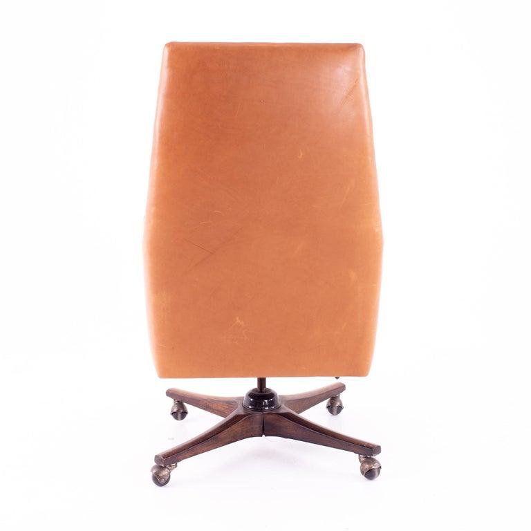 Mid-Century Modern Edward Wormley for Dunbar Style Mid Century Leather Orange Desk Chair For Sale