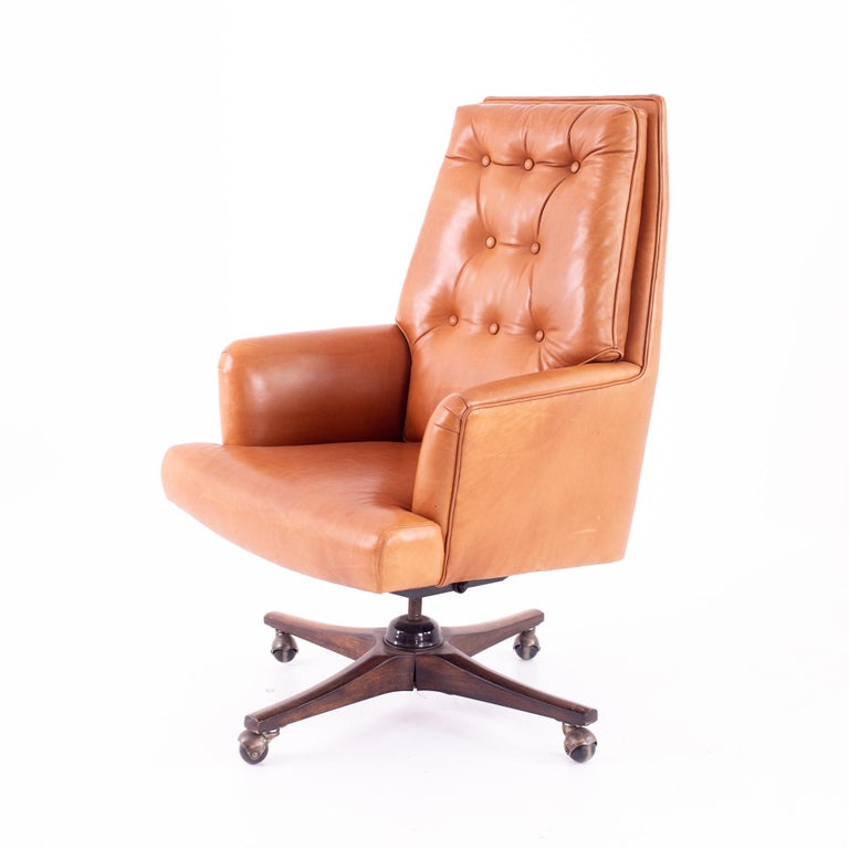 American Edward Wormley for Dunbar Style Mid Century Leather Orange Desk Chair For Sale