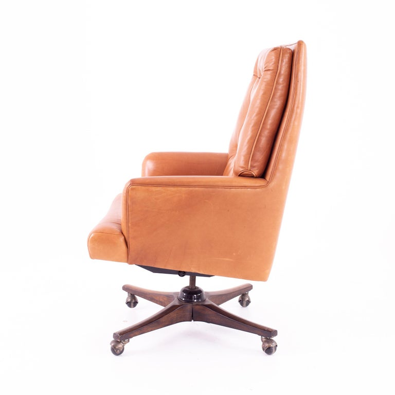 Late 20th Century Edward Wormley for Dunbar Style Mid Century Leather Orange Desk Chair For Sale
