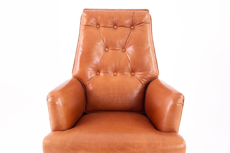 Metal Edward Wormley for Dunbar Style Mid Century Leather Orange Desk Chair For Sale
