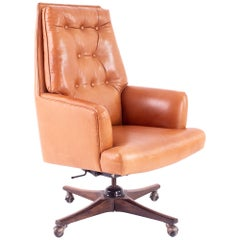 Edward Wormley for Dunbar Style Mid Century Leather Orange Desk Chair