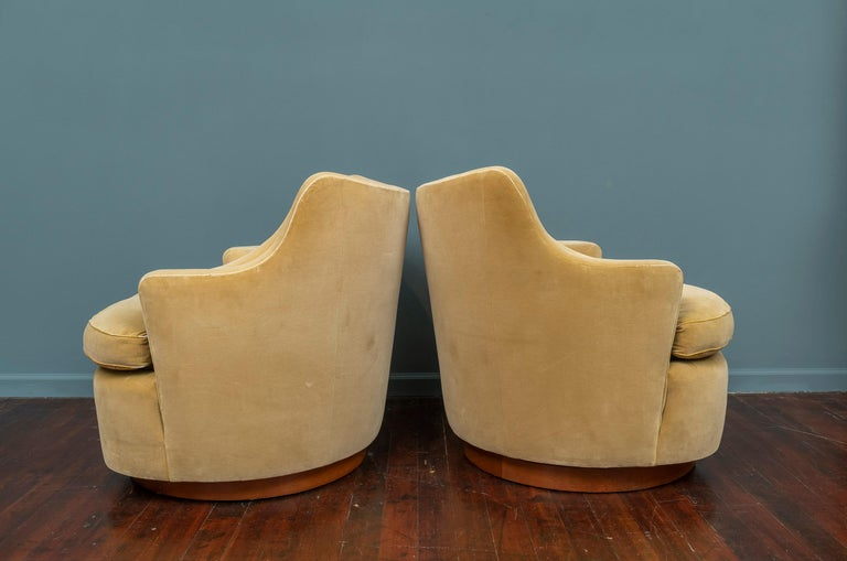 American Edward Wormley for Dunbar Swivel Lounge Chairs For Sale
