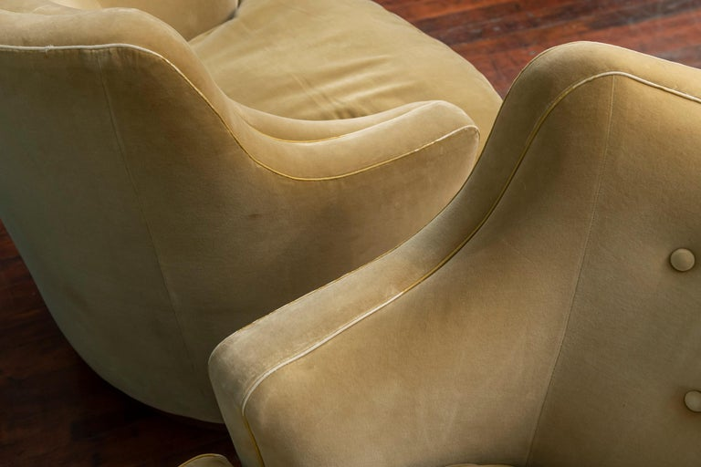 Upholstery Edward Wormley for Dunbar Swivel Lounge Chairs For Sale