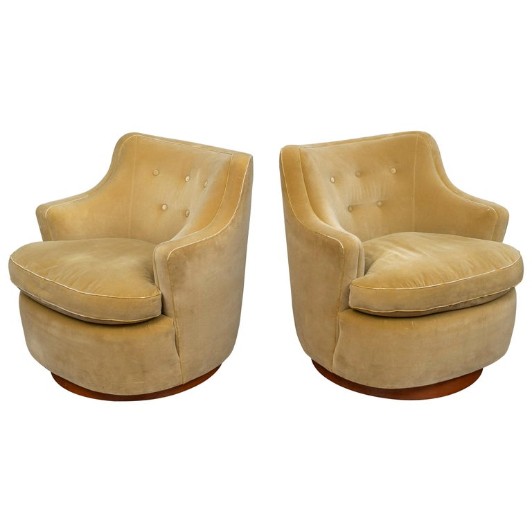 Edward Wormley for Dunbar Swivel Lounge Chairs For Sale