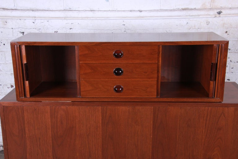 Mid-Century Modern Edward Wormley for Dunbar Tambour Door Walnut Floating Wall-Hanging Credenza For Sale