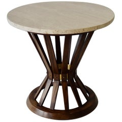 Edward Wormley for Dunbar Travertine Top Sheaf of Wheat Side Table