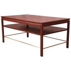 Edward Wormley for Dunbar Walnut and Brass Coffee Table, Newly Refinished