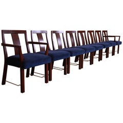 Edward Wormley for Dunbar Walnut and Brass Dining Chairs, Set of Eight