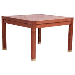 Edward Wormley for Dunbar Walnut and Brass Side Table, Newly Restored