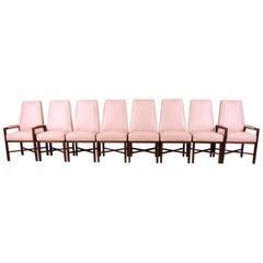 Edward Wormley for Dunbar Walnut and Leather High Back Dining Chairs, Set of 8