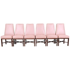 Edward Wormley for Dunbar Walnut and Leather High Back Dining Chairs, Set of Six