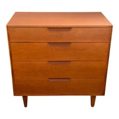 Edward Wormley for Dunbar Walnut Chest with Leather Handles