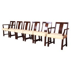 Edward Wormley for Dunbar Walnut Dining Chairs, Set of Six