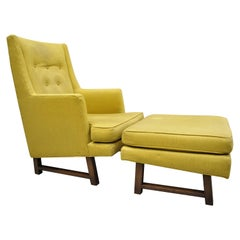 Edward Wormley for Dunbar Walnut Frame High Back Lounge Chair and Ottoman