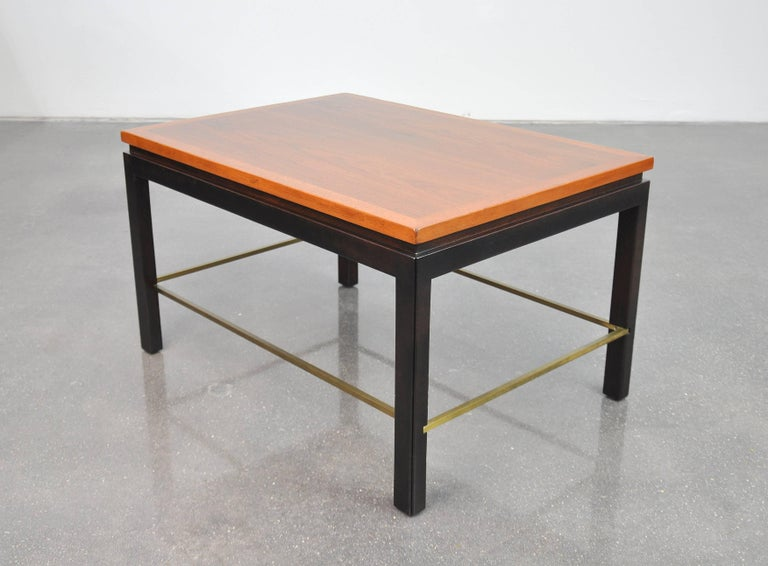 Mid-Century Modern Ed Wormley for Dunbar Mahogany and Brass Side Table For Sale