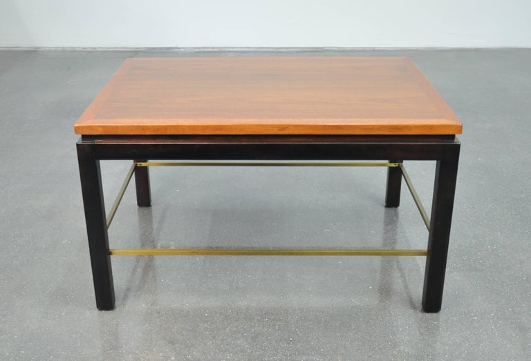 American Ed Wormley for Dunbar Mahogany and Brass Side Table For Sale