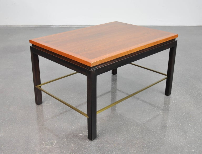 Ebonized Ed Wormley for Dunbar Mahogany and Brass Side Table For Sale