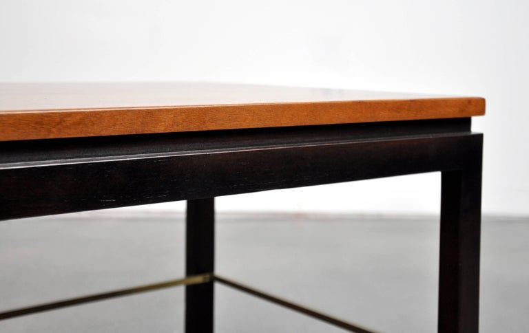 Ed Wormley for Dunbar Mahogany and Brass Side Table For Sale 1