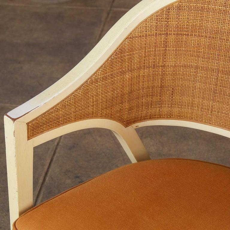 Linen Edward Wormley for Dunbar Y-Back Captain Chair