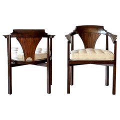 Edward Wormley Horseshoe Armchairs, a Pair, 1950's