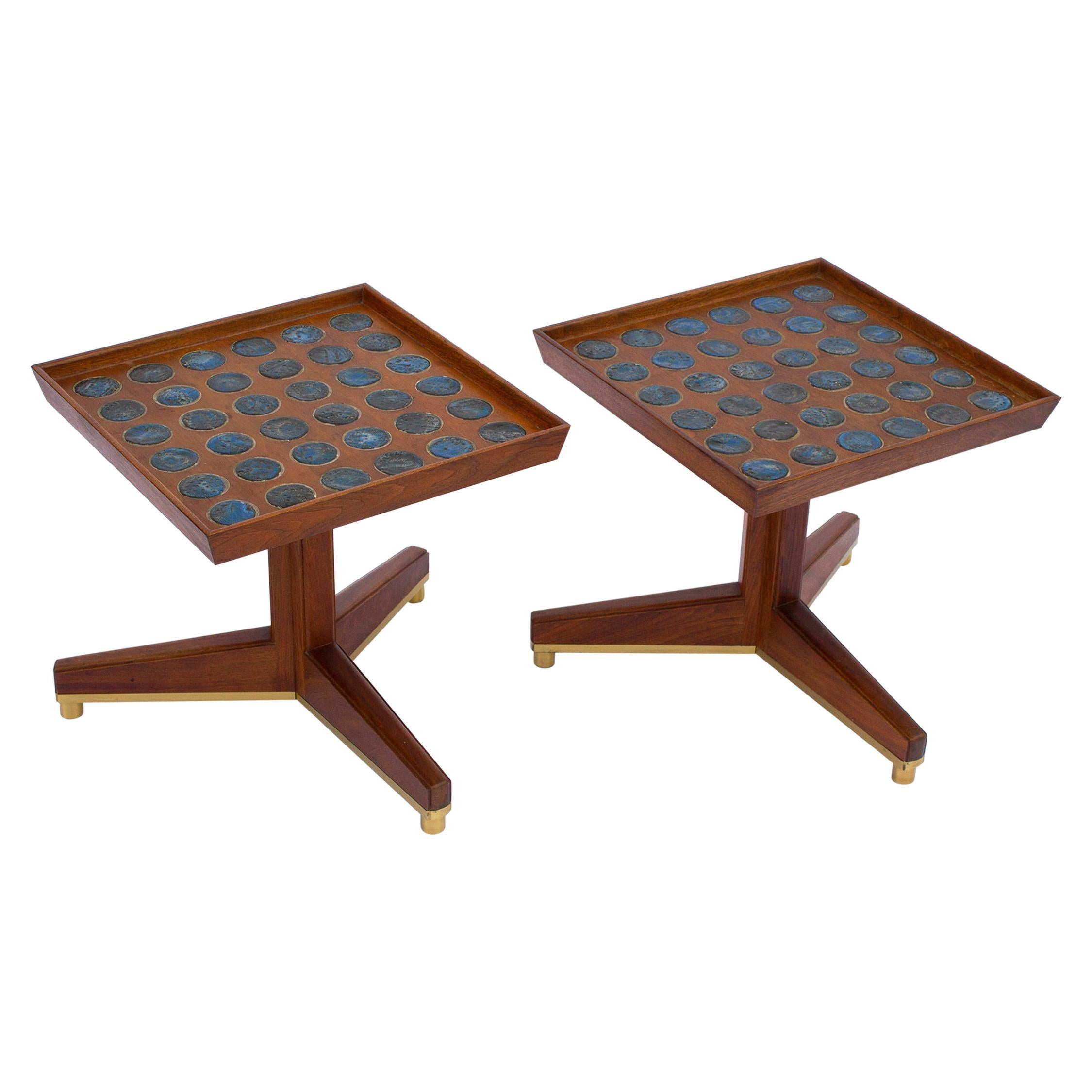"""Edward Wormley """"Janus"""" Occasional Tables with Natzler Tiles for Dunbar in Walnut"""