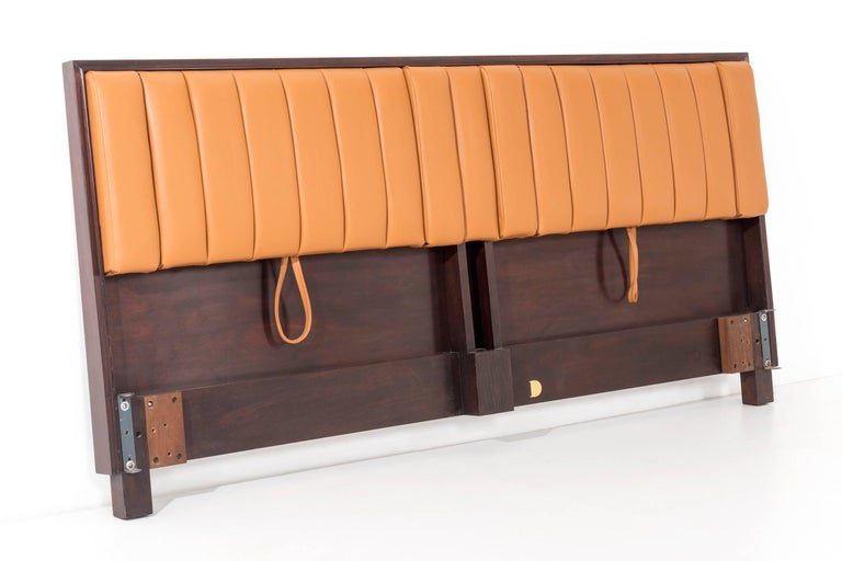 Wormley for Dunbar swing-out headboard, model 4588, Mahogany framed structure holding leather channel-back dual headboard that tilts for comfortable reading slant, with drop down arm rests reupholstered in Spinneybeck leather. Standard bed claws for
