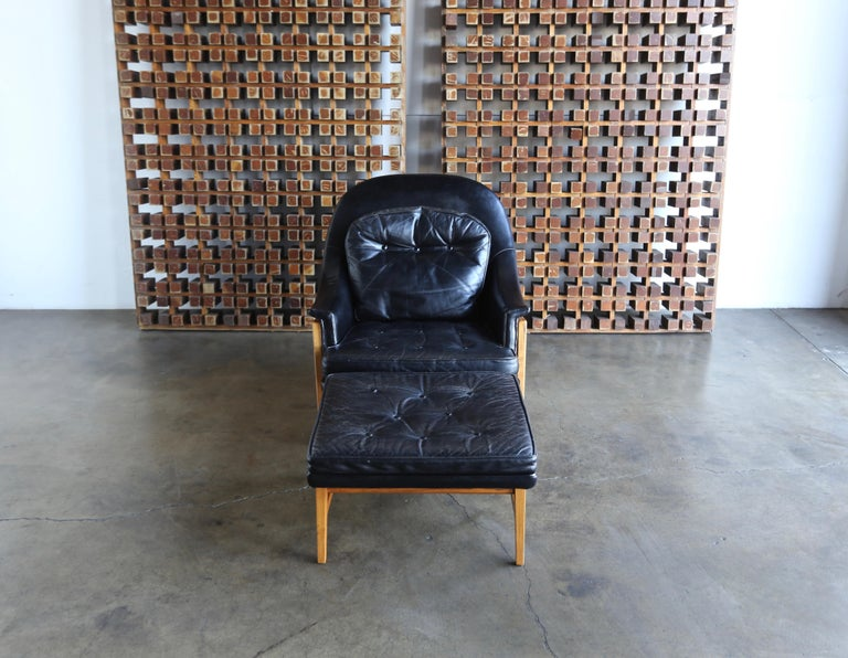 American Edward Wormley Leather Lounge Chair and Ottoman for Dunbar, circa 1957 For Sale