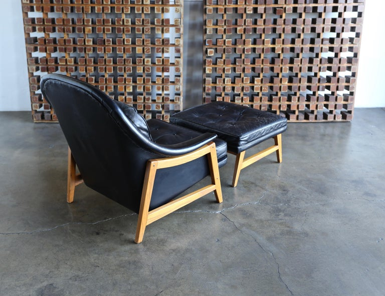 20th Century Edward Wormley Leather Lounge Chair and Ottoman for Dunbar, circa 1957 For Sale