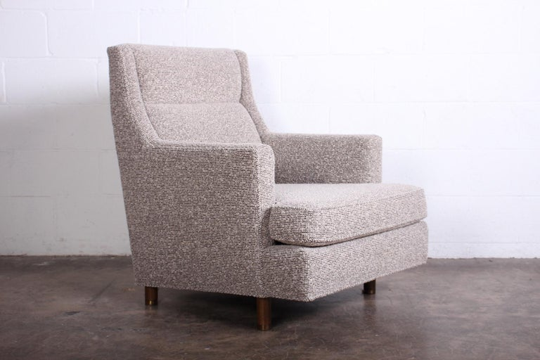 Wool Edward Wormley Lounge Chair and Ottoman For Sale