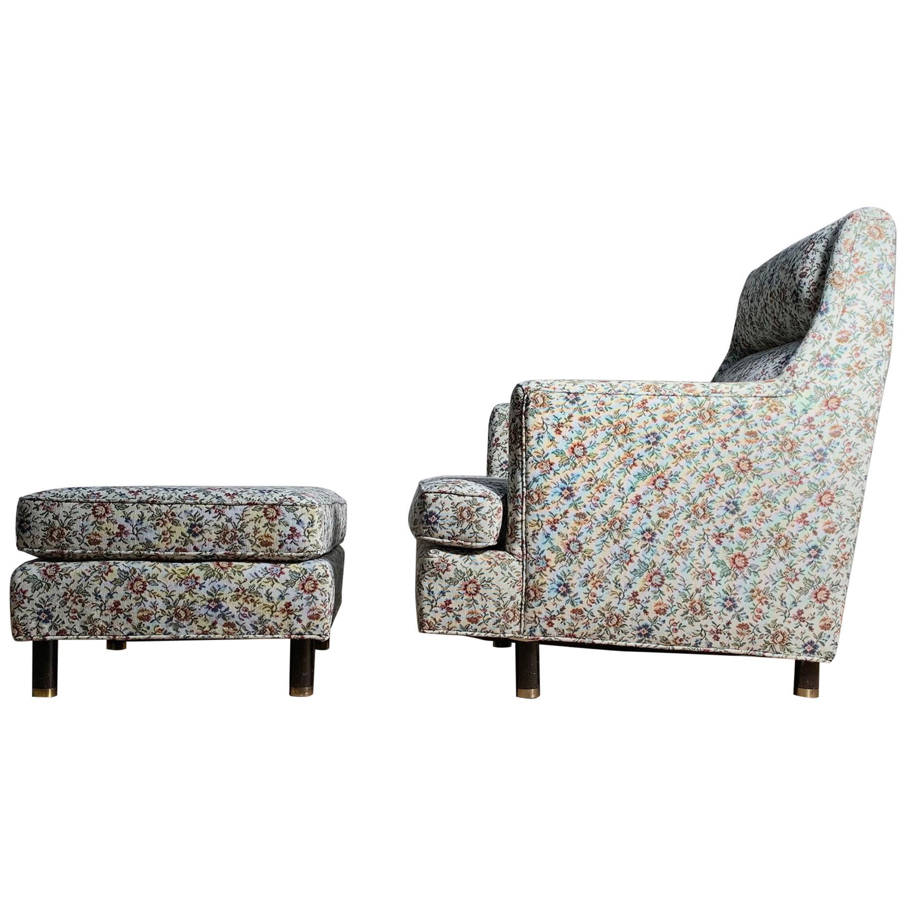 Edward Wormley Lounge Chair with Ottoman for Dunbar