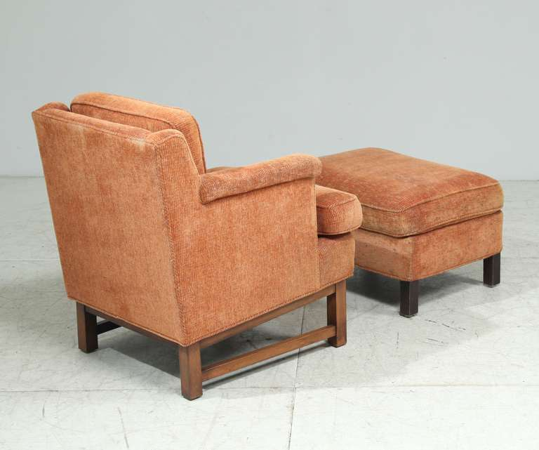 American Edward Wormley Lounge Chair with Ottoman For Sale