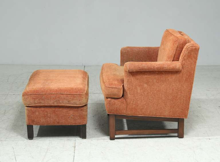 Edward Wormley Lounge Chair with Ottoman In Good Condition For Sale In Maastricht, NL