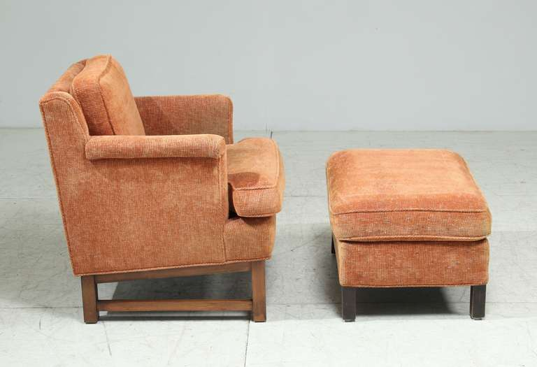 Fabric Edward Wormley Lounge Chair with Ottoman For Sale
