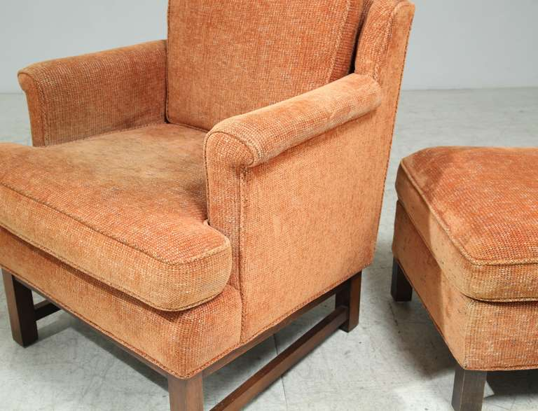 Edward Wormley Lounge Chair with Ottoman For Sale 1